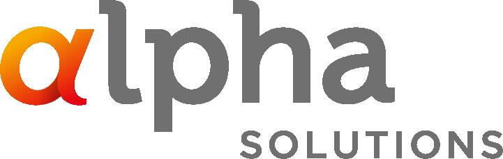 알파홀딩스의 계열사 (주)알파솔루션즈의 로고