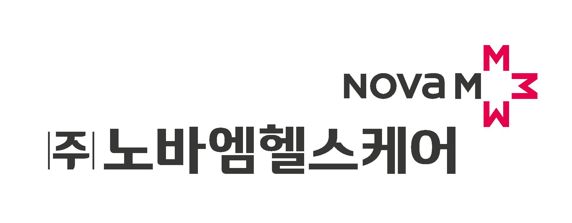 메가젠임플란트의 계열사 (주)노바엠헬스케어의 로고